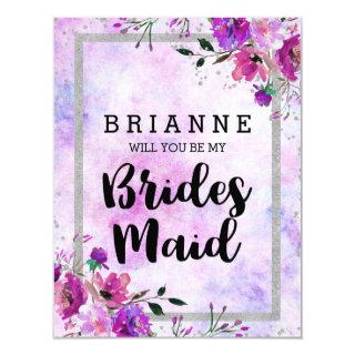 Purple Floral & Silver Will You Be My Bridesmaid Invitations