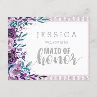 Purple Floral Silver Will You Be My Maid of Honor Invitations