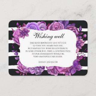Purple floral wedding wishing well. Black stripes Enclosure Card