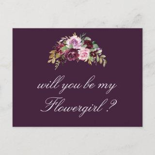 purple floral will you be my Flowergirl card