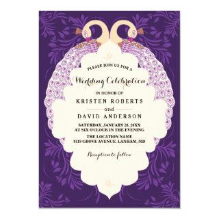 Purple flowers and frame with peacock wedding invitation
