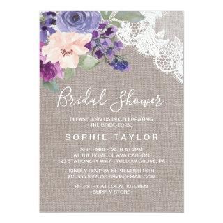 Purple Flowers and Lace Bridal Shower Invitations