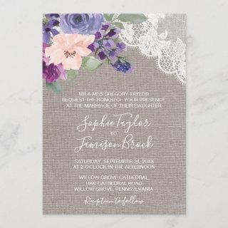 Purple Flowers and Lace Formal Wedding Invitation