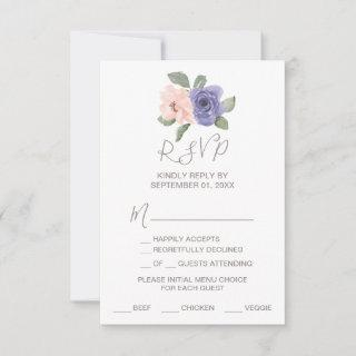 Purple Flowers and Lace Menu Choice RSVP Card