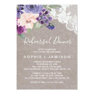 Purple Flowers and Lace Rehearsal Dinner Invitation