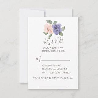 Purple Flowers and Lace Song Request RSVP Card