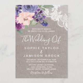 Purple Flowers and Lace The Wedding Of Invitations