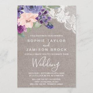 Purple Flowers and Lace Wedding Invitations