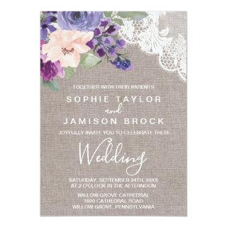 Purple Flowers and Lace Wedding Invitation