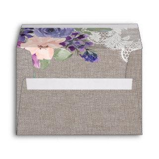 Purple Flowers and Lace Wedding Invitations Envelope