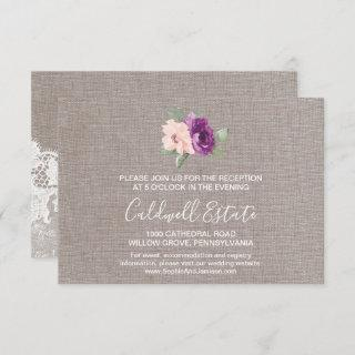 Purple Flowers and Lace Wedding Reception Card