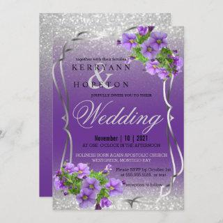 Purple Flowers and Silver Glitter Invitation