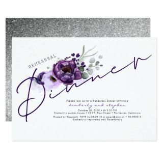 Purple Flowers and Silver Glitter Rehearsal Dinner Invitation