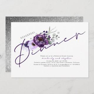 Purple Flowers and Silver Glitter Rehearsal Dinner