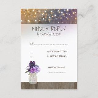 Purple Flowers Mason Jar Wedding RSVP