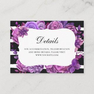 Purple flowers wedding details. Lilac floral Enclosure Card