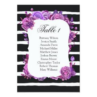 Purple flowers wedding seating chart. Table plan Invitations