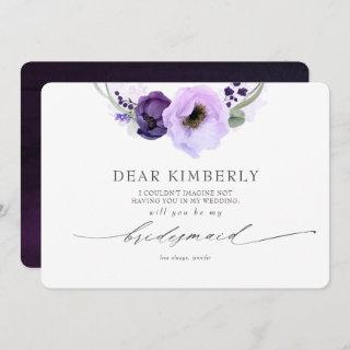 Purple Flowers Will You Be My Bridesmaid Proposal Invitation