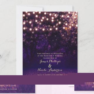 Purple Forest Sunset String Lights Rustic Wedding Invitations