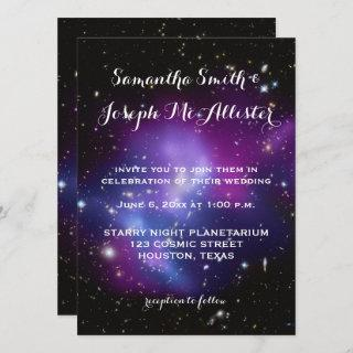 Purple Galaxy Cluster Planetarium Wedding Invitation