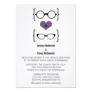 Purple Geeky Glasses Wedding Invitation