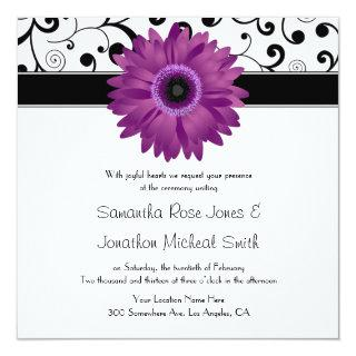 Purple Gerbera Daisy Black Scroll Design Wedding Invitation