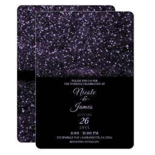 Purple Glitter Sparkling Lights Wedding Invitations