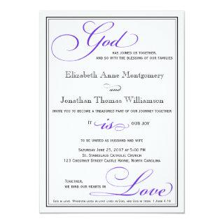 Purple God is Love Christian Wedding Invitations