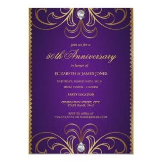 Purple & Gold 50th Wedding Anniversary Invitation