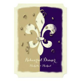 Purple Gold Confetti Fleur de Lis event Invitations