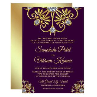 Purple Gold Diamond Mandala Indian Wedding Invite