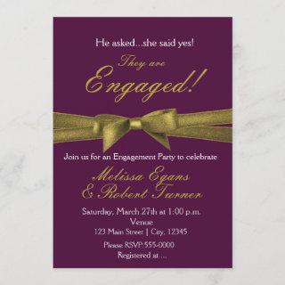 Purple & Gold Engagement Bow Party Invitations