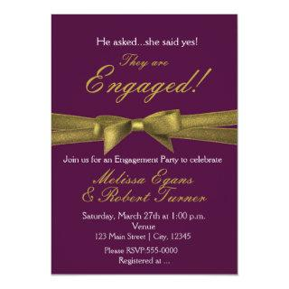 Purple & Gold Engagement Bow Party Invitation