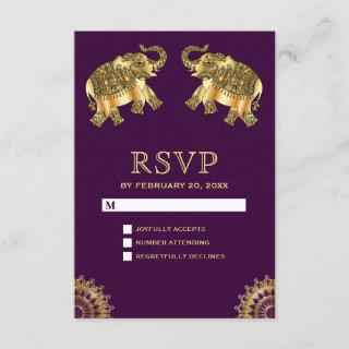 Purple Gold Ethnic Elephants Indian RSVP