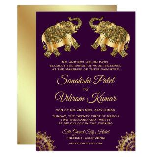 Purple Gold Ethnic Elephants Indian Wedding Invite