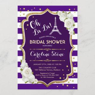 Purple Gold French Style Bridal Shower Invitations