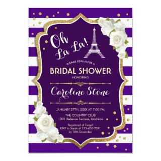 Purple Gold French Style Bridal Shower Invitation