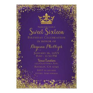Purple & Gold Glitter Crown Sweet 16 Party Invitation