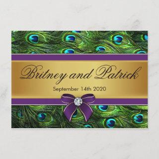 Purple & Gold Peacock Feather Wedding Invitations