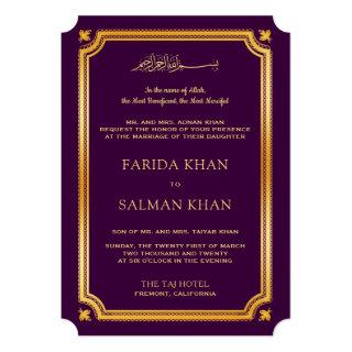 Purple Gold Traditional Islamic Muslim Wedding Invitations