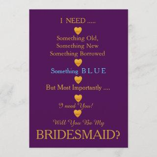 Purple & Gold with Heart Will You Be my Bridesmaid Invitations