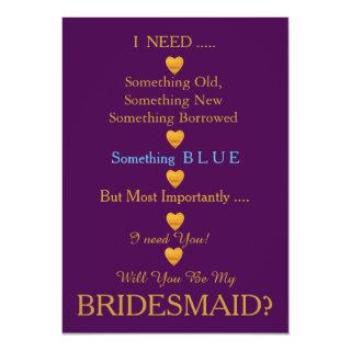 Purple & Gold with Heart Will You Be my Bridesmaid Invitation