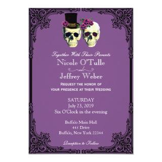 Purple Goth Sugar Skull Wedding Invitations