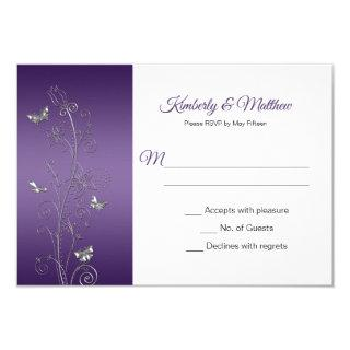 Purple Gradient and Silver Butterflies Swirls RSVP Invitation