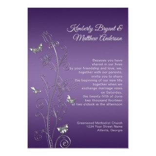Purple Gradient Silver Ornate Butterflies Wedding Invitations