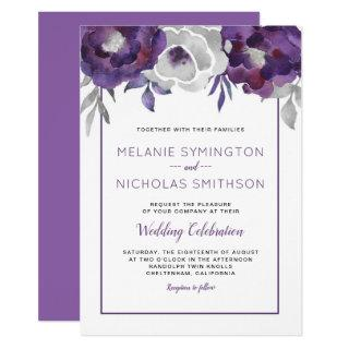Purple Gray Floral wedding celebration invitations