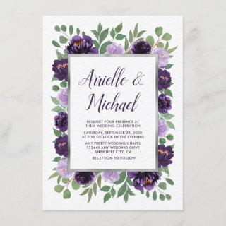 Purple Gray Garden Green Plum Wedding Invitations
