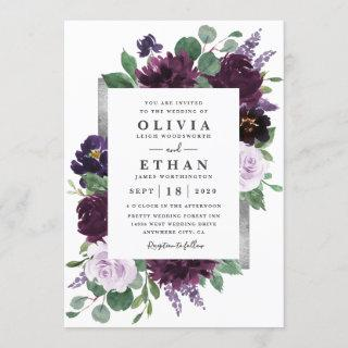 Purple Gray Silver Watercolor Peony Fall Wedding Invitations