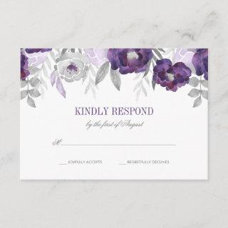 Purple Gray Watercolor Flowers Wedding RSVP
