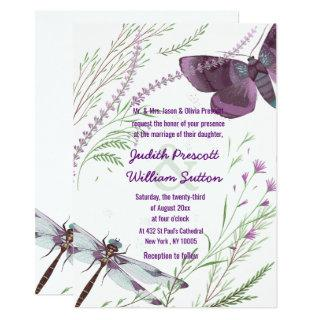 Purple Green Butterfly Watercolor Floral Wedding Invitations